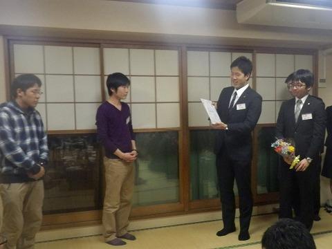 現役部員から退任されるコーチへ(55代辻コーチ、60代古川コーチ)