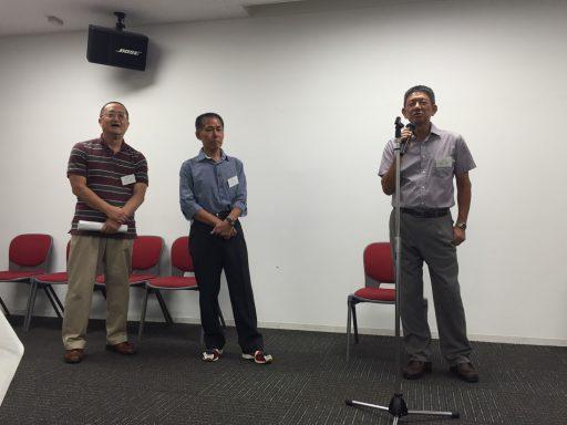 フリー参加の会員(左から28代石井さん、22代土屋さん、21代剣持さん)の挨拶